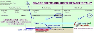 how to set prefix suffix in tally for gstr1 returns