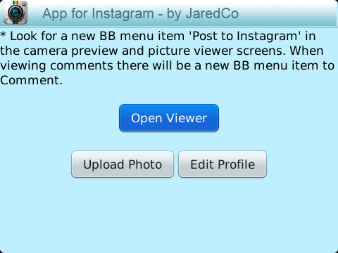 Instagram App for Blackberry OS 6 to OS 7.1
