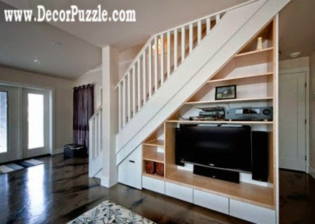 under stairs ideas and storage solutions, under stairs tv unit and shelves