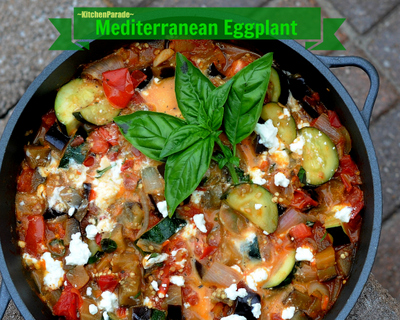 Mediterranean Eggplant , another Quick Supper ♥ KitchenParade.com, a quick, easy & tasty vegetarian supper, just eggplant, zucchini and tomato (fresh or canned) with a little feta stirred in. Low Carb. Gluten Free.