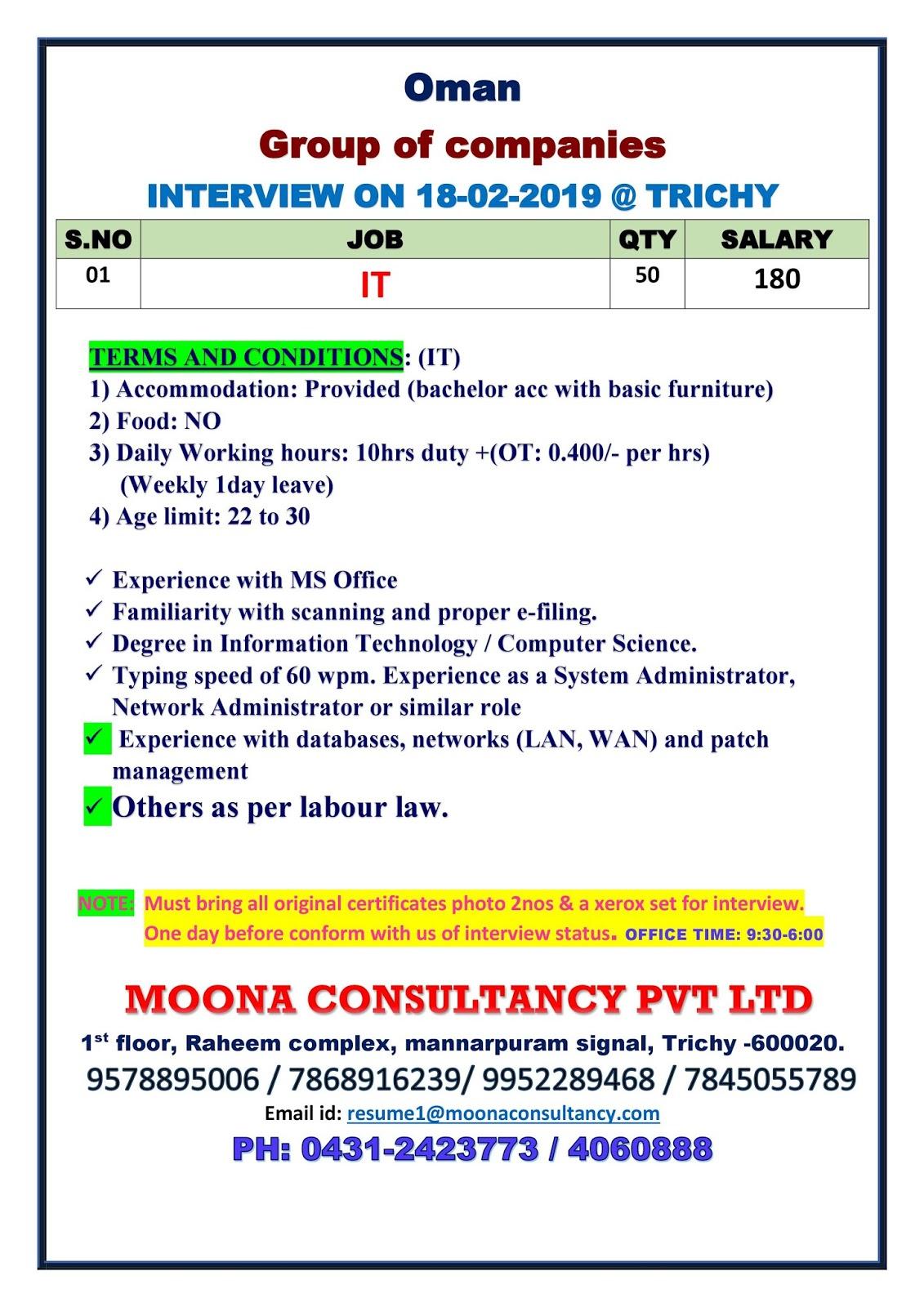 GROUP OF COMPANIES OMAN 18-02-2019 | Moona Consultancy