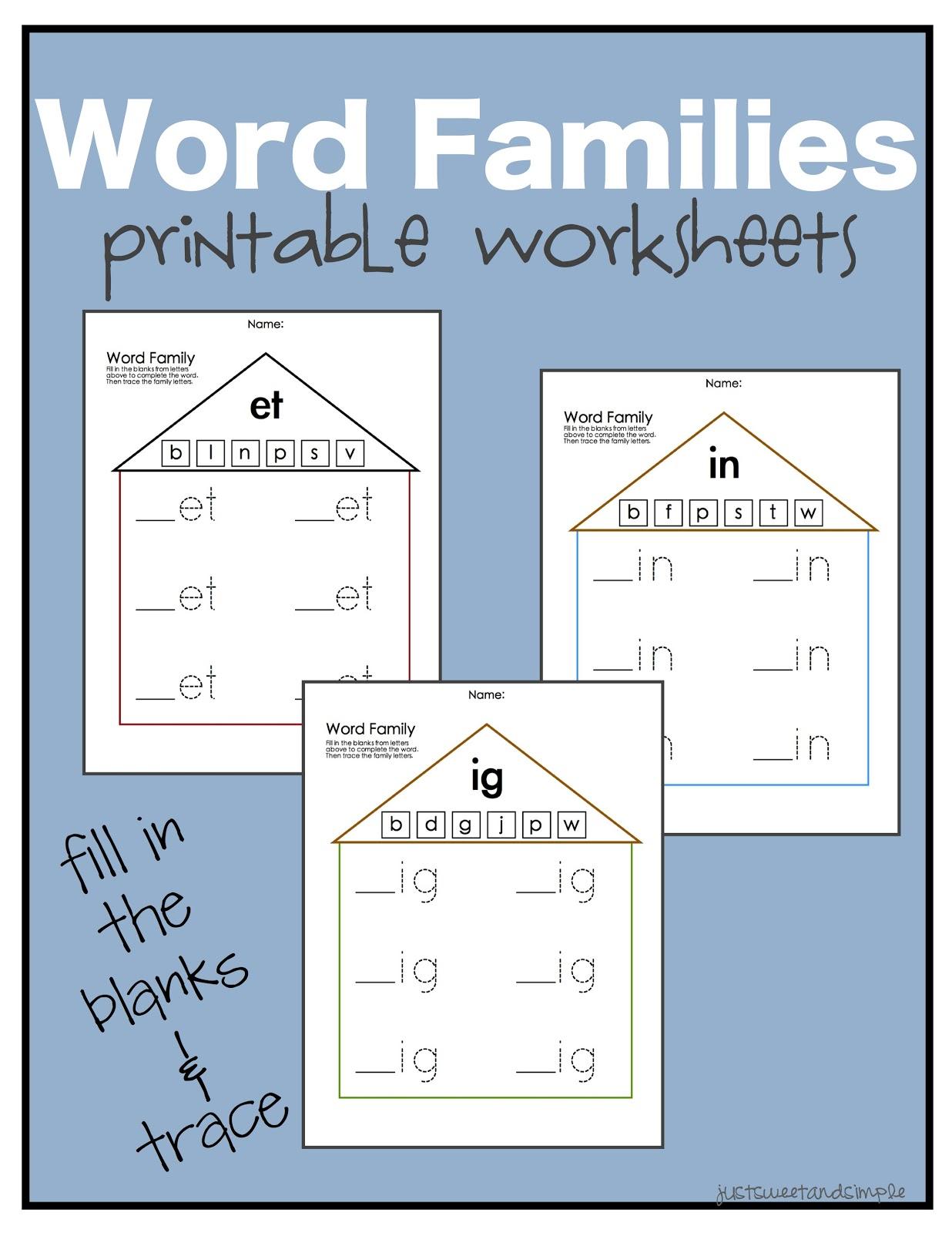 Just Sweet And Simple Preschool Practice Word Family