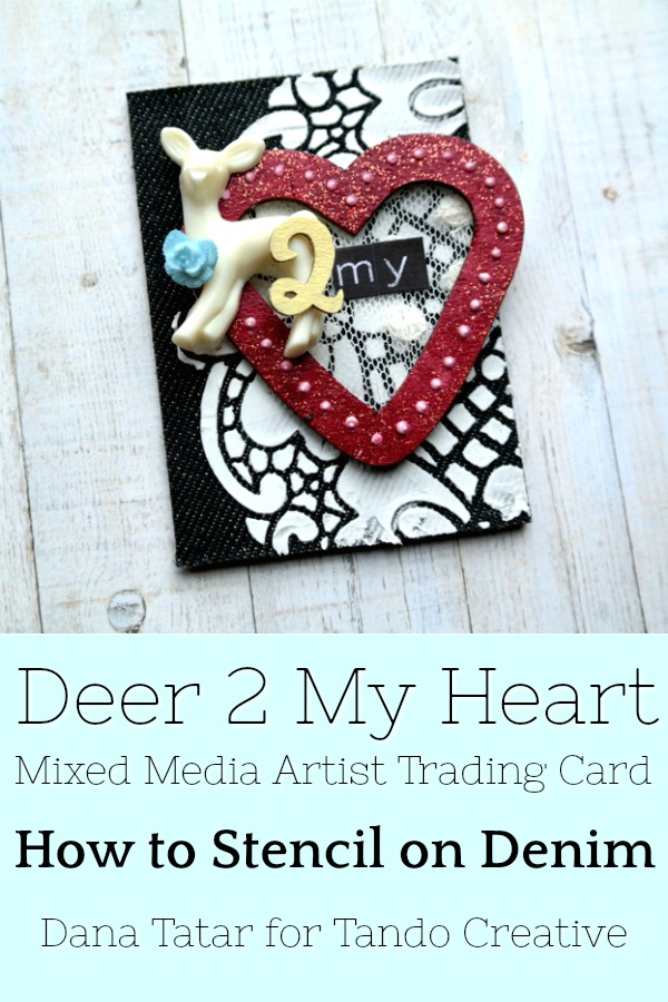 Denim Artist Trading Card with Stenciling and Chipboard Embellishments