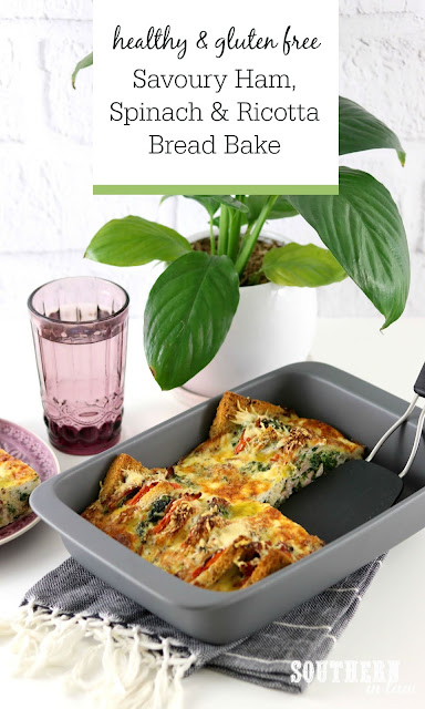 Healthy Savoury Ham Spinach and Ricotta Bread Bake Recipe - Recipes for Christmas Leftovers, Gluten Free, Healthy, Low Fat, High Protein, Meal Prep Recipes