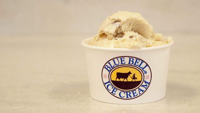Scoop of maple pecan ice cream at Blue Bell Creamery in Brenham, Texas