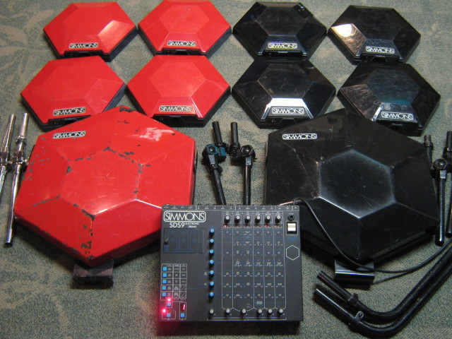 matrixsynth simmons sds9 vintage drum brain 10 original red and black trigger pads. Black Bedroom Furniture Sets. Home Design Ideas