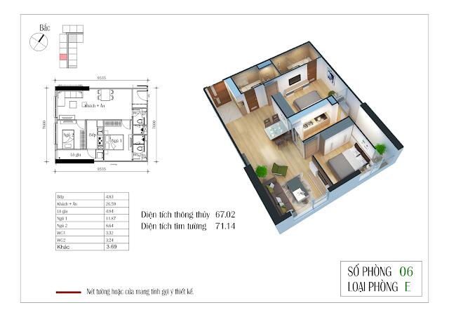 Thiết kế căn hộ số 06: 67,02m2
