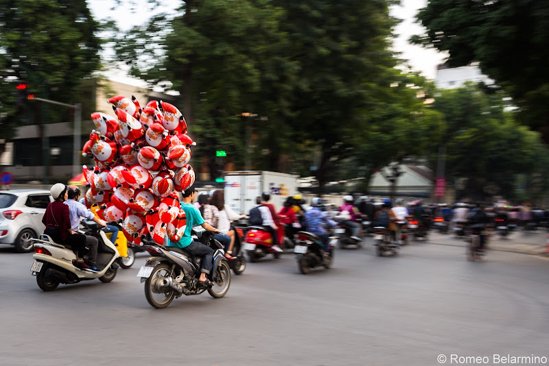 Motorbikes with Santa Balloons Things to Do in Hanoi Vietnam