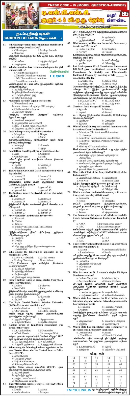 TNPSC Group 4 Current Affairs Model Papers - Dinathanthi Feb 1, 2018, Download as PDF