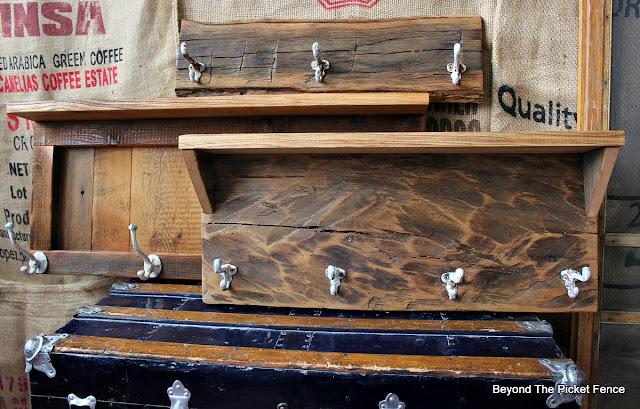 barnwood, rustic coat hook, cabin decor, http://bec4-beyondthepicketfence.blogspot.com/2016/03/rustic-style-coat-hooks.html