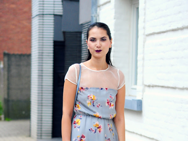 Floral dress and purple lips