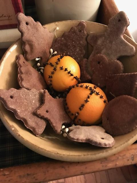salt dough ornaments, orange clove pomanders