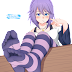 Tags: Render, Bare shoulders, Barefoot, Feet, Knees, Pov Feet, Purple hair, Rosario to Vampire, Shirayuki Mizore, Stockings