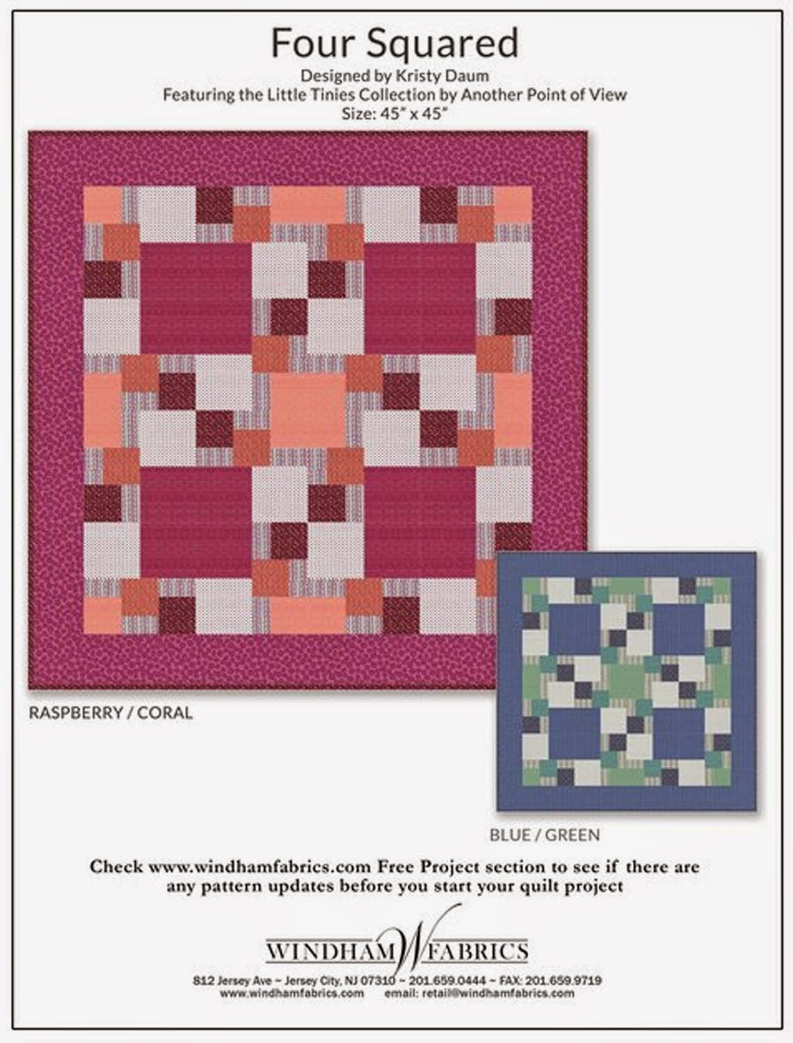 FOUR SQUARED Quilt Pattern // Kristy Daum for Windham Fabrics