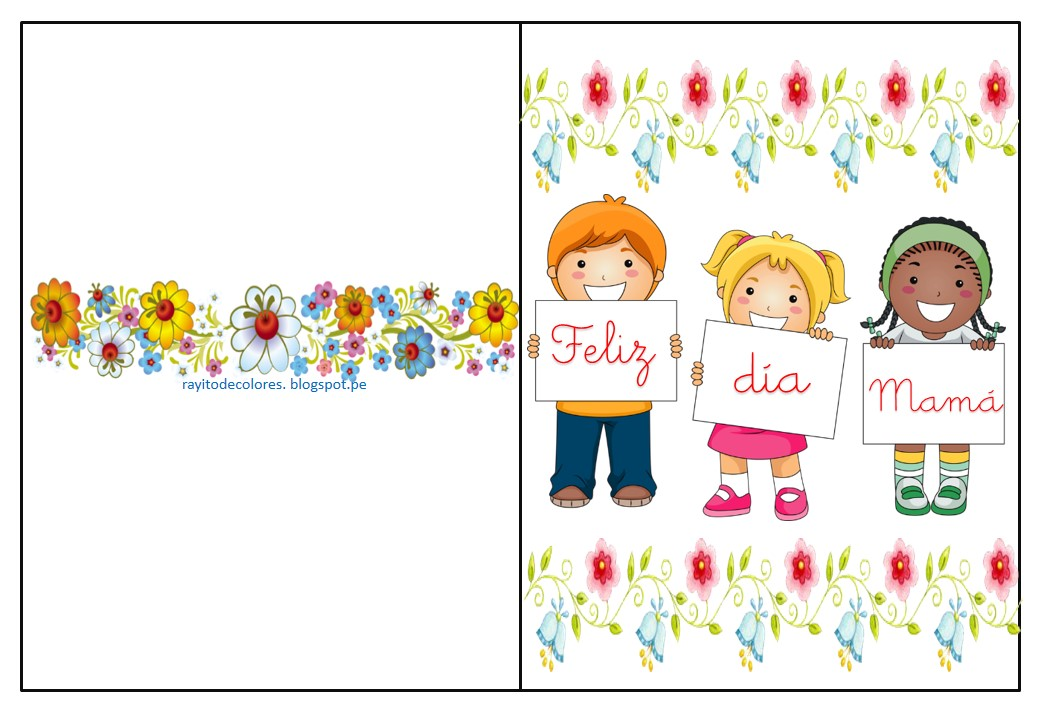 Rayito De Colores Tarjetas Día De La Madre Para Imprimir
