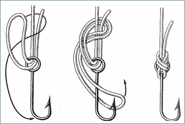 Способы привязывания крючка рыболовного