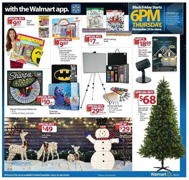 Walmart Black Friday Art Set With Easel, Norwich Pre Lit LED Tree and Kids Crafts