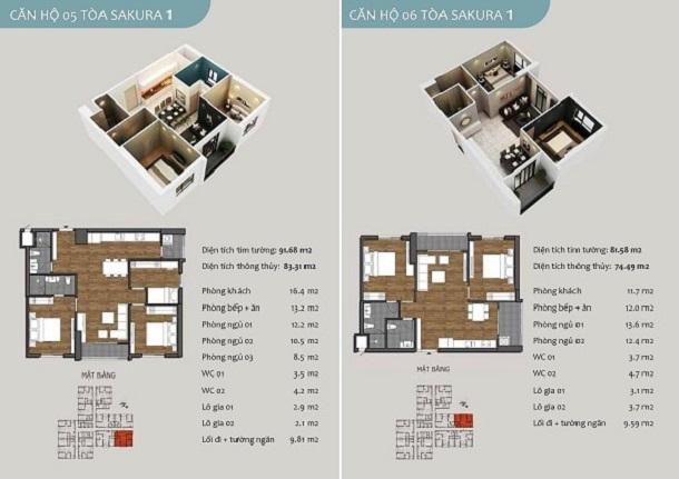 Thiết kế căn hộ 04,05 chung cư Sakura 1