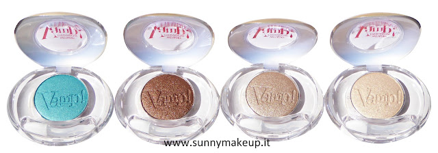 Pupa - Coral Island. Vamp! Compact Eyeshadow. 001 Emerald Waves, 002 Bronze Passion, 003 Sandy Glam, 004 Golden Light.