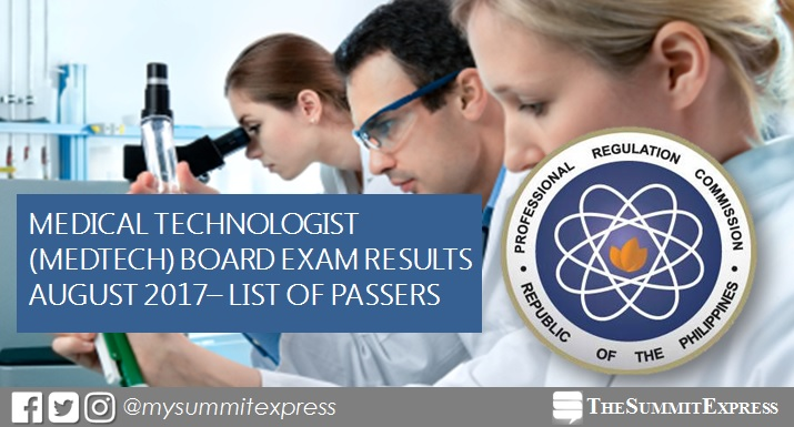 August 2017 Medtech board exam passers list, top 10