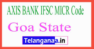 AXIS BANK IFSC MICR Code Goa State