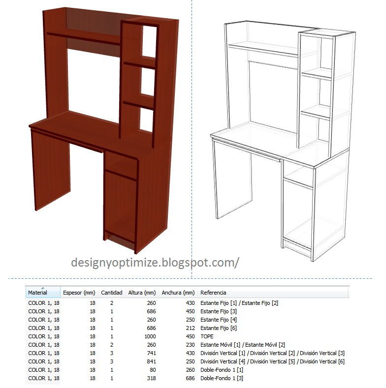 Dise o de muebles madera mesa mueble moderno para for Fabricacion de muebles de melamina pdf