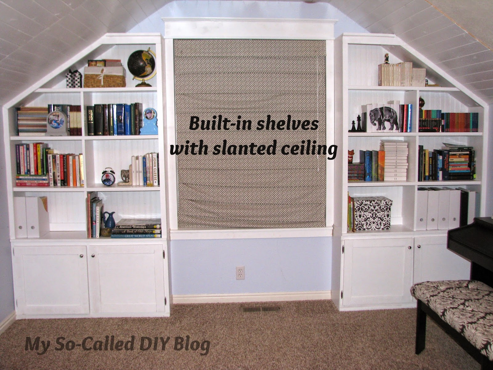 Project Bonus Room Built In Shelves With A Slanted Ceiling