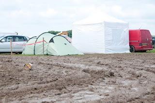 Camping at a muddy festival