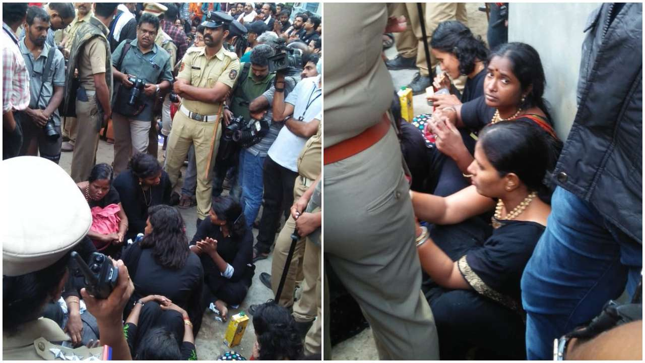 Tension arise in Pamba: devotees opposed the entry of young women group from Chennai