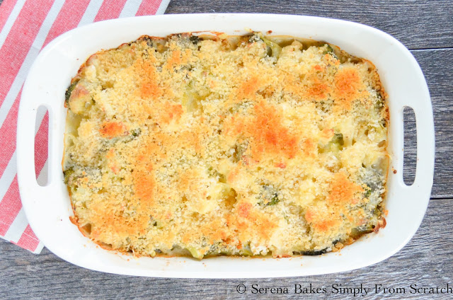 Broccoli Casserole is a family favorite covered in velvety cheddar sauce and then covered in crispy panko bread crumbs. A great side for Thanksgiving or Christmas! serenabakessimplyfromscratch.com