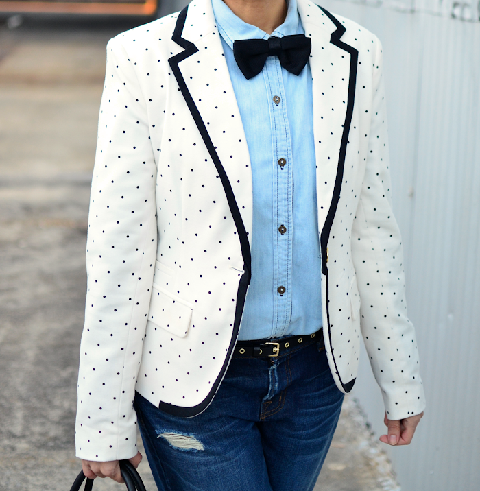 Bow tie with denim