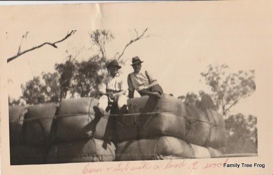 Two men sitting on top of bales of wool