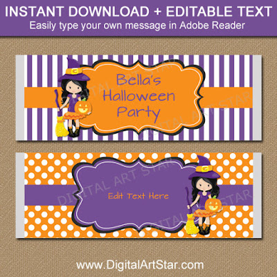 printable kids halloween candy wrappers with witch