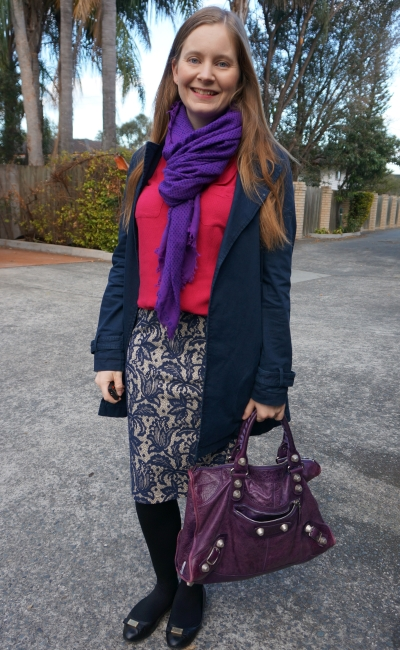 navy mac, lace pencil skirt and pink tank and purple scarf outfit with balenciaga work bag | away from blue