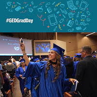 Photo of a GED grad taking a selfie at a grad ceremony.  Banner above photo with digital media icons and text: #GEDGradDay