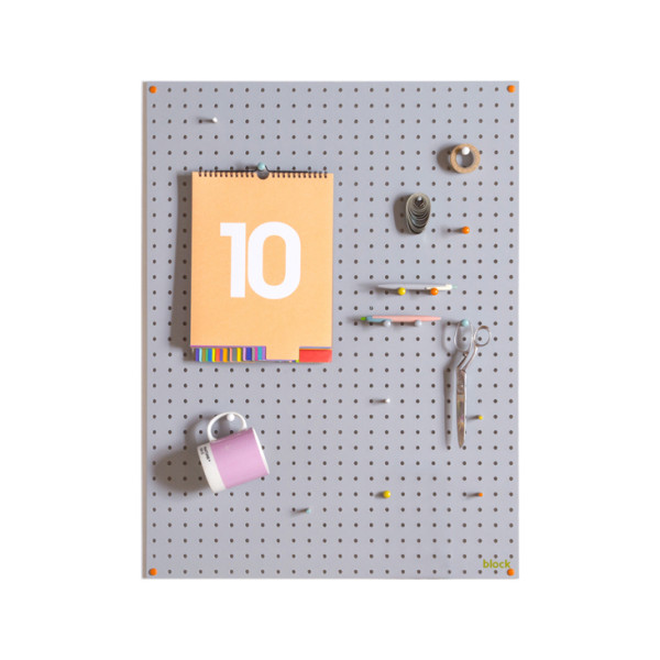 grey wooden pegboard