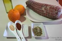 Ternera especiada naranja orégano pimentón receta presentación ingredientes