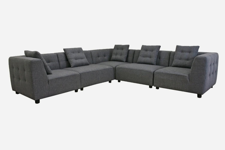Gray Fabric Modular Modern Sectional Sofa