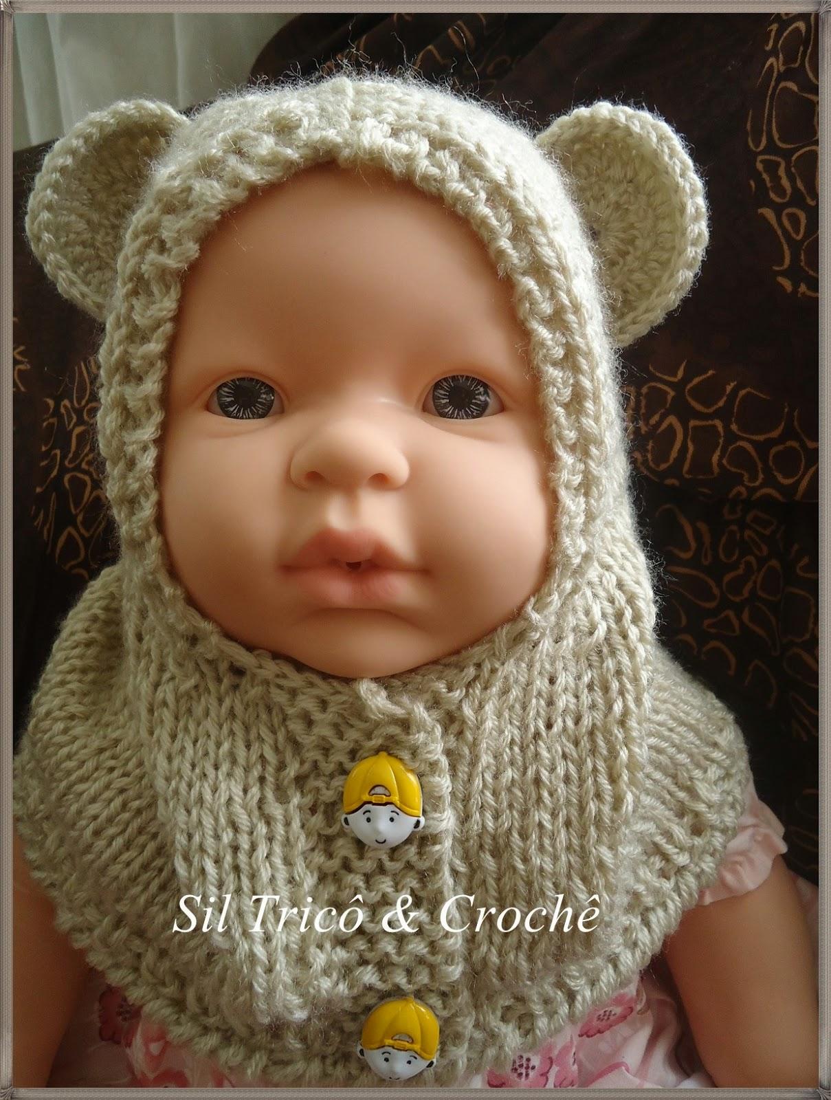 7c024545cd7c8 Sil Tricô  Receita   Gola capuz com botões para bebê em tricô