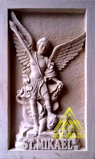 batu alam paras jogja atau batu paras putih relief st mikael