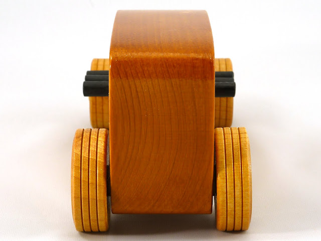 Rear - Wooden Toy Car - Hot Rod Freaky Ford - 32 Sedan - Pine - Amber Shellac - Metallic Gold - Black