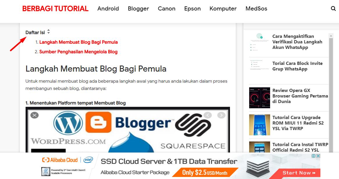 Cara Membuat dan Memasang Daftar Isi di Postingan Blogger AMP