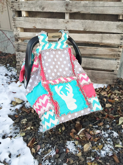Woodland Car Seat Canopy Deer Aqua, Gray, and Hot Pink