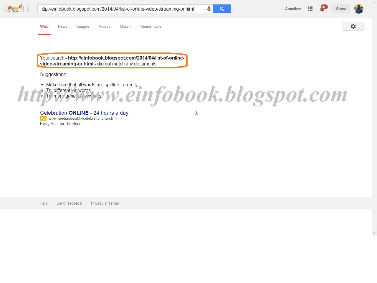 Result of page if your post to blogger was not added to Google indexed pages