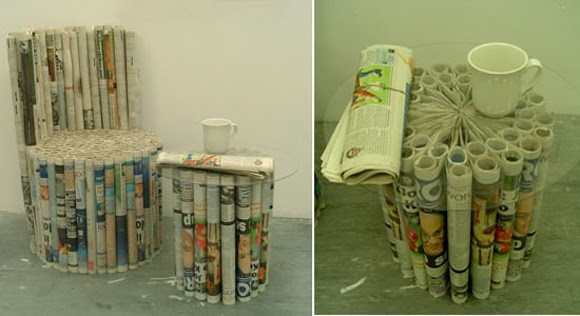 Blographic Design Art Made From Recycled Newspaper