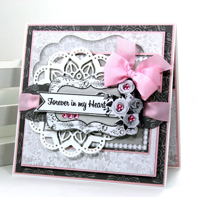 Shabby Chic Card 1  By Ginny Nemchak for BoBunny using Black Tie Affair and Mini Alphabet Punch Board