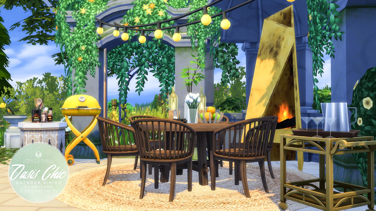 Simsational Designs Oasis Chic Dining Outdoor Furniture Set