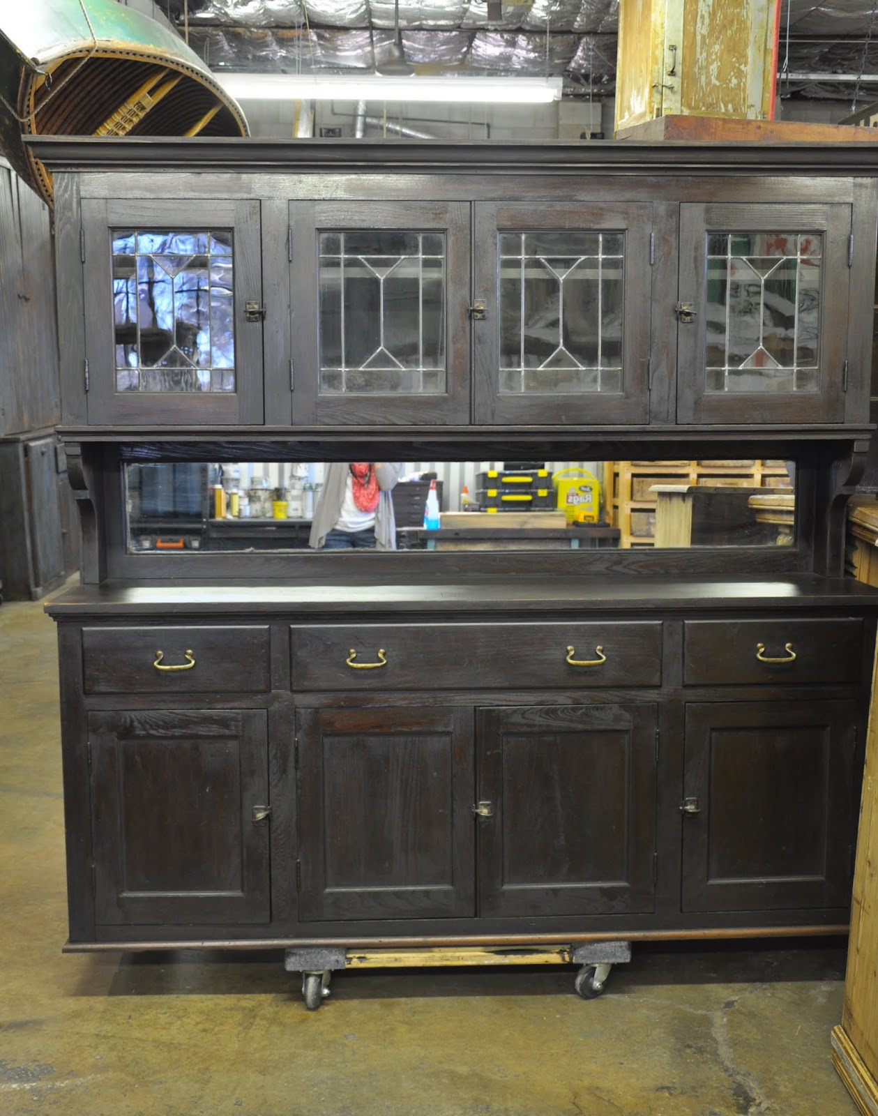 Oklahoma Barn Market Back Bar Cabinet With Leaded Glass