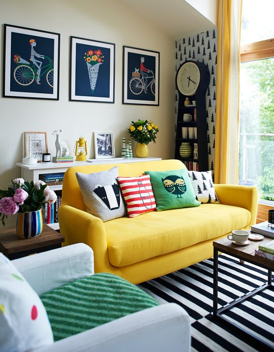 yellow and black eclectic living room