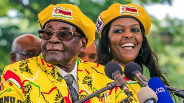 Robert Gabriel Mugabe speaking with the press
